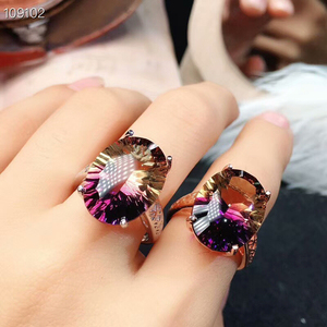 Image 3 - [MeiBaPJ Dream Cut Natural Ametrine Gemstone Fashion Ring for Women Real 925 Sterling Silver Fine Charm Party Jewelry