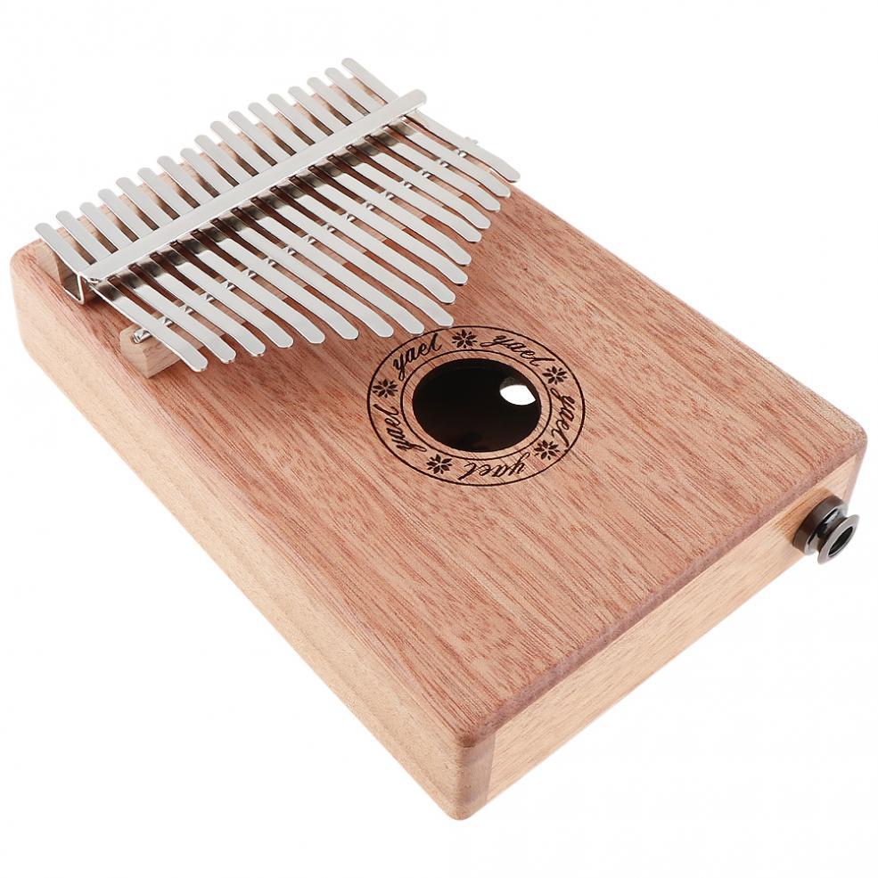 17 Key Electroacoustic Kalimba Solid Mahogany Thumb Piano with Amplifier Mbira Natural Mini Keyboard Instrument