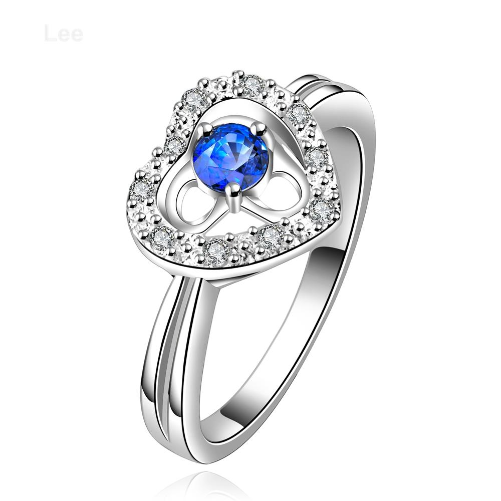 R643 A 925 Silver new design finger ring for lady blue ring heart ...