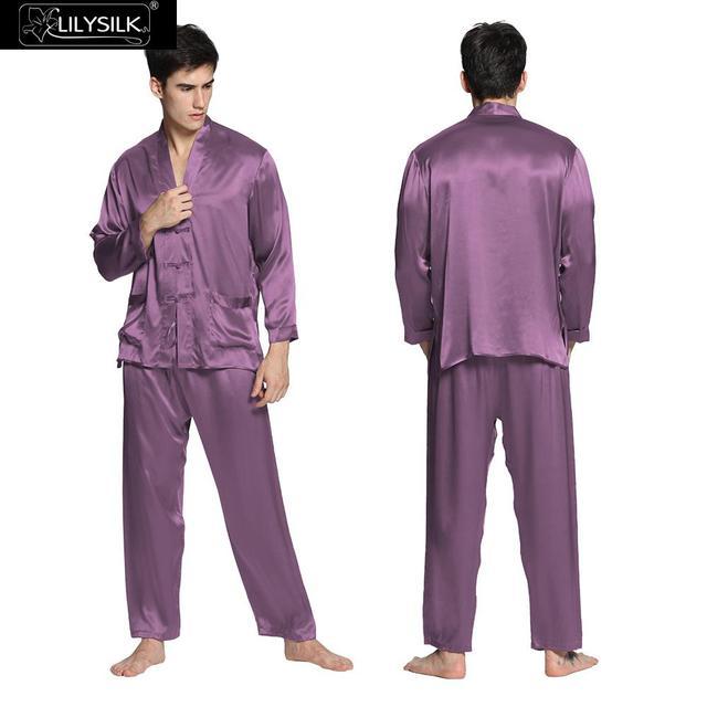Pijamas de Los Hombres De Seda Japonesa 22 Momme Lilysilk Violeta Hombres Homewear ropa de Dormir ropa de Noche Atractiva Modernos Trajes de Manga Larga de Invierno Cálido