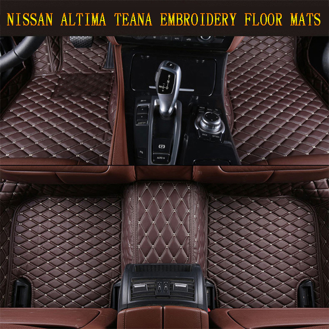 us $130 0 car floor mats for nissan altima teana 2013 2017 foot carpets pad mat step embroidery leather car interior heavy duty carpet in floor mats