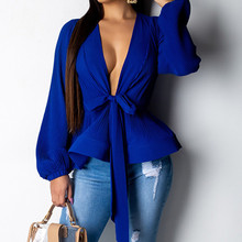 new deep v neck solid bow knot blouse women lantern sleeve casual shirts petal down swing OL upper garment  loose chiffon tops недорого