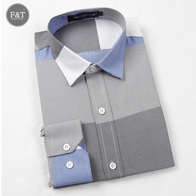 [ Азии размер ] мода бренд большой полосой мужчины рубашки с длинным рукавом хлопок тонкой французские свободного покроя мужской социальной рубашка