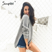 Simplee Fashion Side Slit Knitting Pullover Casual Autumn Winter Sweater Women Elegant Streetwear Warm Jumper Pull