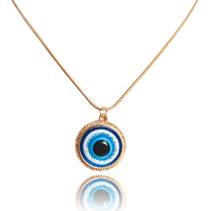 18MM Simple Gold Silver Evil Eyes Necklace Resin Blue Eyes Choker Necklace Turkish Lucky Symbol Eyes Charm Jewelry Accessories