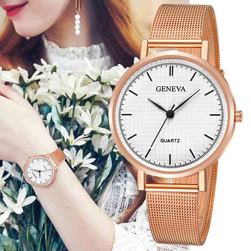 2019 NEW Women Watch Fashion Plaid Design Rose Gold Quartz Ladies Dress WristWatch Top Brand Luxury Bayan Kol Saati Relogio Saat