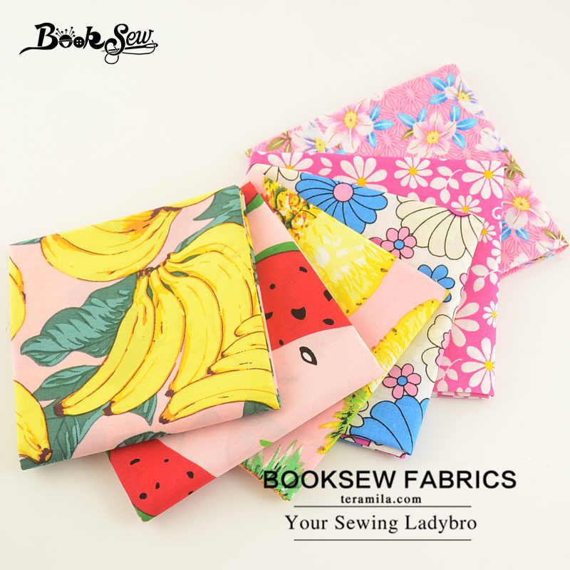 Booksew 100% хлопок поплин Ткань цветов и фруктов серии Дизайн 6 шт./лот Жир Квартал Комплект для судов Костюмы рубашка платье для девочек