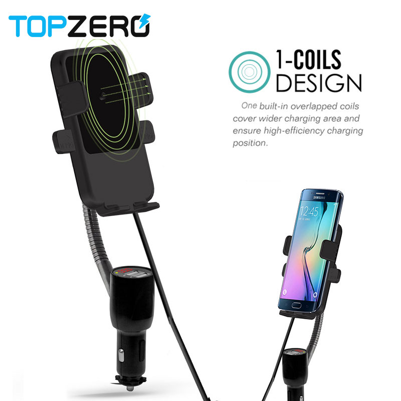 TOPZERO Car Holder For Xiaomi Wireless Charging Dual USB Car Vehicle Wireless Charger For iPhone Car Mount Wireless Charger TOPZERO Car Holder For Xiaomi Wireless Charging Dual USB Car Vehicle Wireless Charger For iPhone Car Mount Wireless Charger