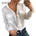 Z & KOZE 2017 Женщины Нью Sexy Шифон Блузка Мода Бинты Выдалбливают Карманные V-образным Вырезом Рубашки С Длинным Рукавом Женщин рубашка blusas