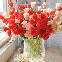 10 Flower Artificial False Rose Decoration For Party Wedding Birthday Garden DIY Flower Heads Branch Handmade False Flower