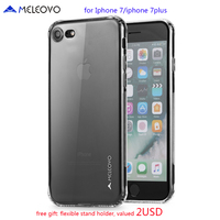 Meleovo Marque 360 Protéger TPU Caoutchouc Gel Cas pour Iphone 7 7 plus De Luxe Mince Antichoc Transparent TPU Couverture Arrière pour femmes