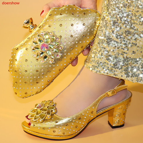 10389a37b93a4 doershow African Shoes And Bag Matching Set With gold Hot Selling Women  Italian Shoes And Bag