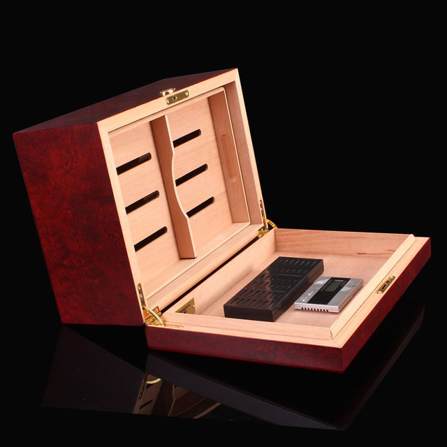 Cigar humidor moisture box cedar wood piano lacquer