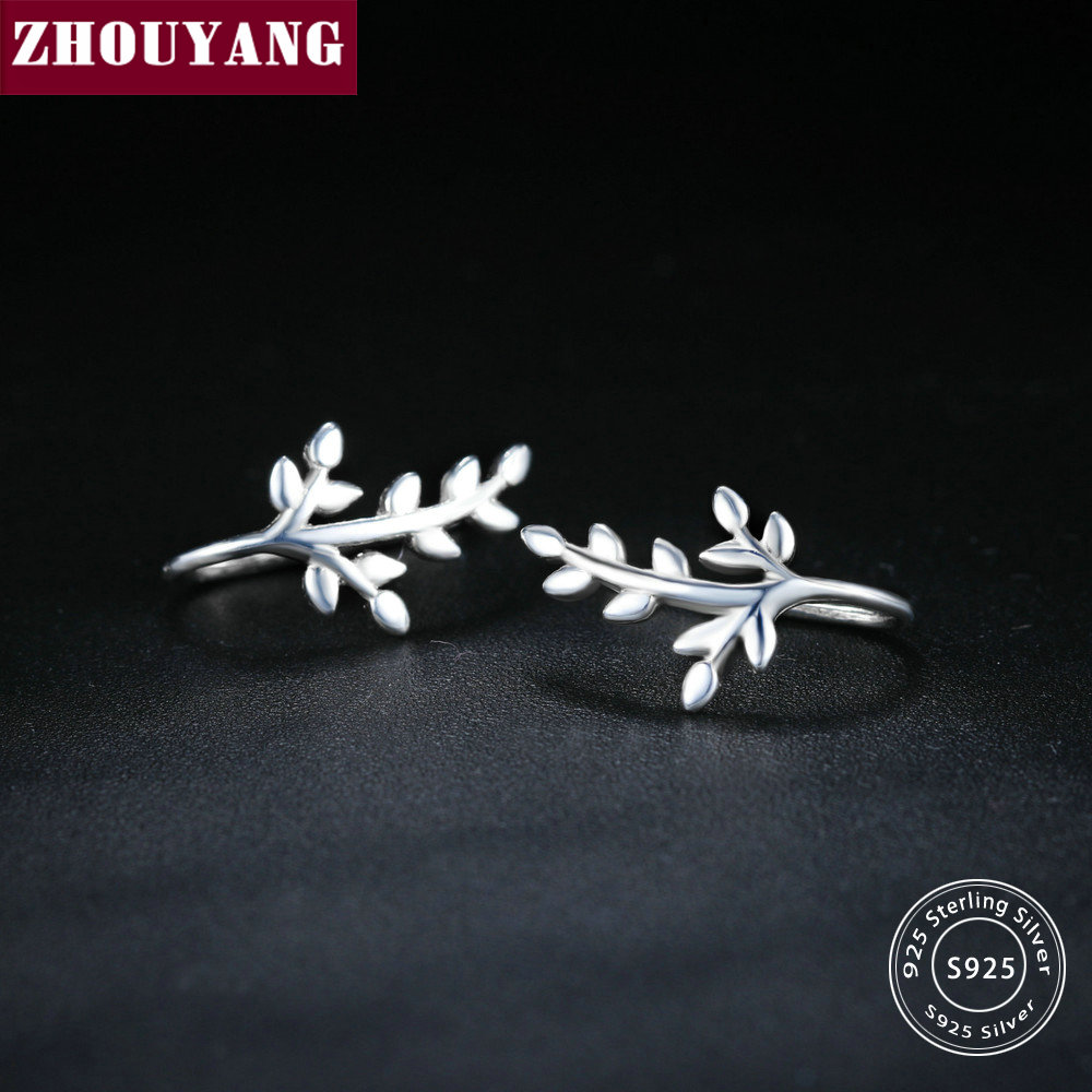 ZHOUYANG High Polishing Smooth Little Tree Sprouts S925 Silver Ear hook Earrings For Women Girl Gift Wholesale EY272