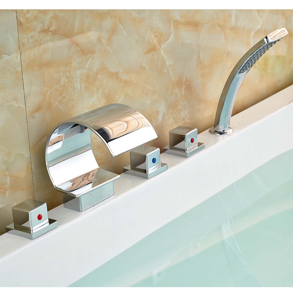 все цены на Three Square Handles Waterfall Bathtub Faucet Deck Mount Widespread Mixer Tap with Handshower