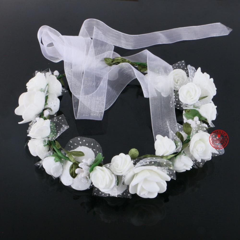1pcslot White Flower Wreath Crown Wedding Wreath Bridal Lace Veil