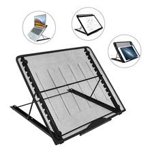 Ayarlanabilir Örgü Havalandırmalı laptop standı Siyah Katlanır Masaüstü Işık kutu tutucu 6 Açıları 2 Boyutları için Bilgisayar D...