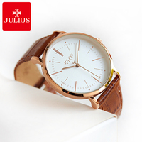 New Style Unisex Women Men Leather Quartz Fashion Simple Good Quality 3 Bar Waterproof Julius 1003