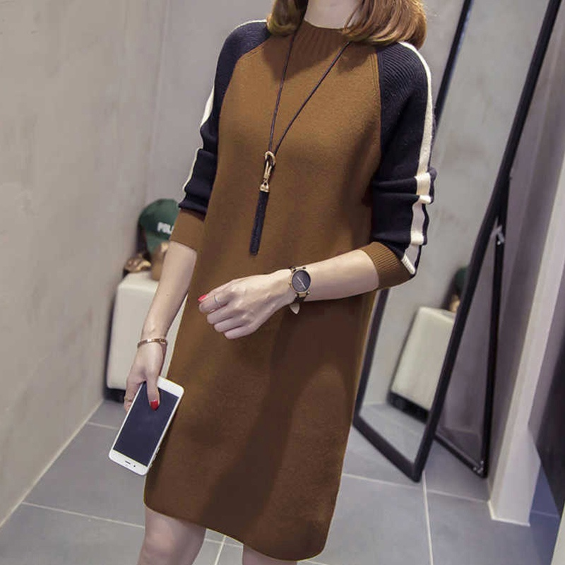 Autumn Winter Women Knitted Loose Patchwork Color O Neck Long Sleeve Midi Dress Fashion Knee-length Casual Dresses Female