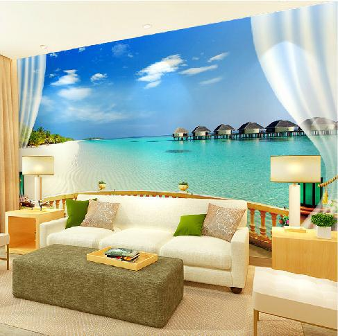 mega 3d landscape wallpaper murals tv background wallpaper mural seascape maldives islands