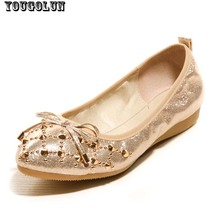Fashion Rivets Summer Flat Heels(2cm) Women Shoes Slip-on Round Toe Solid Ladies Leisure Shoe Sweet Bowtie Gold Pink Gray Flats