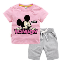 2019 new fashion childrens sports suit summer boy girl cartoon Mickey Mouse two-piece clothes