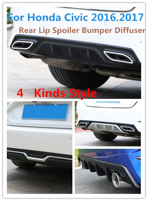 For Honda Civic 2016.2017 Rear Lip Spoiler Bumper Diffuser High Quality Matte Black Primer PP ABS Car Accessories 4 kinds Style paint abs car rear wing trunk lip spoiler for 16 17 honda civic 2016 2017 fastby ems rs style 8colors