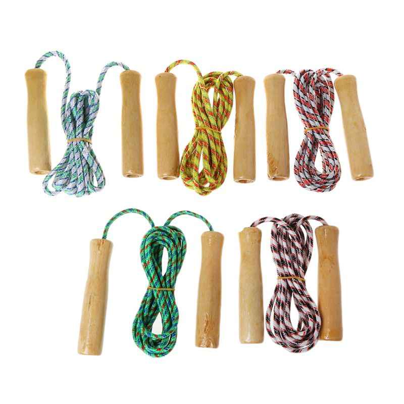 Rope Skipping Wood Handle Speed Jump Unisex Wooden Handle Fitness Equipment