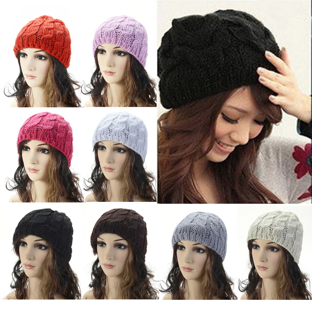 Women Girls Fashion Solid Knitted Crochet Winter Warm Beanie Hat Slouch Cap HATBD0029