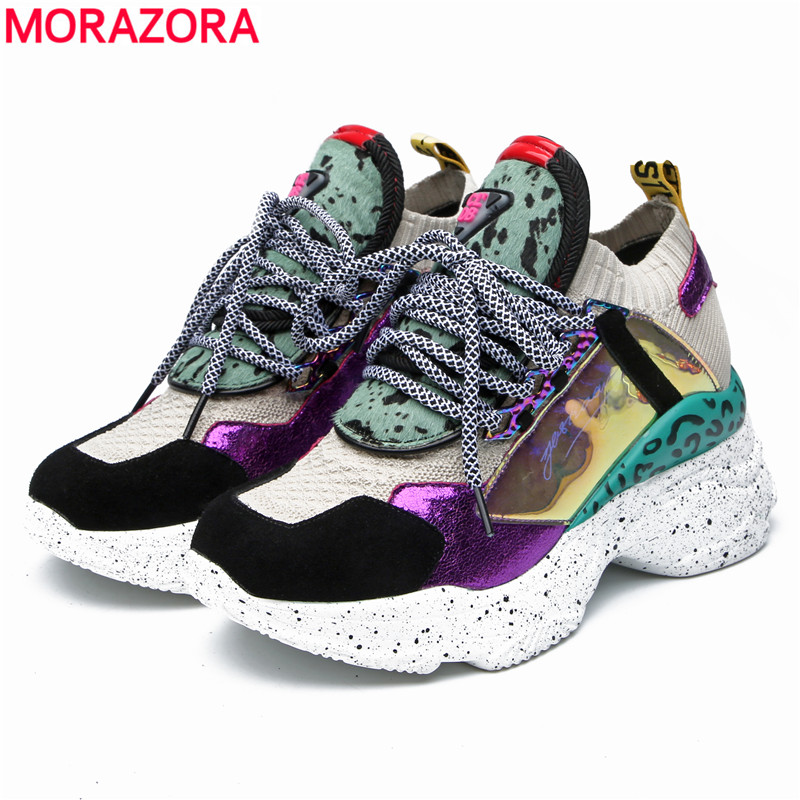 MORAZORA Plus size 35 42 New Genuine Leather sneakers women platform flats lace up round toe