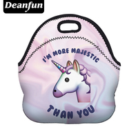 Deanfun 3D Printed Women Lunch Bag Cartoon Unicorn Neoprene With Zipper For Picnic Of Meals 50819