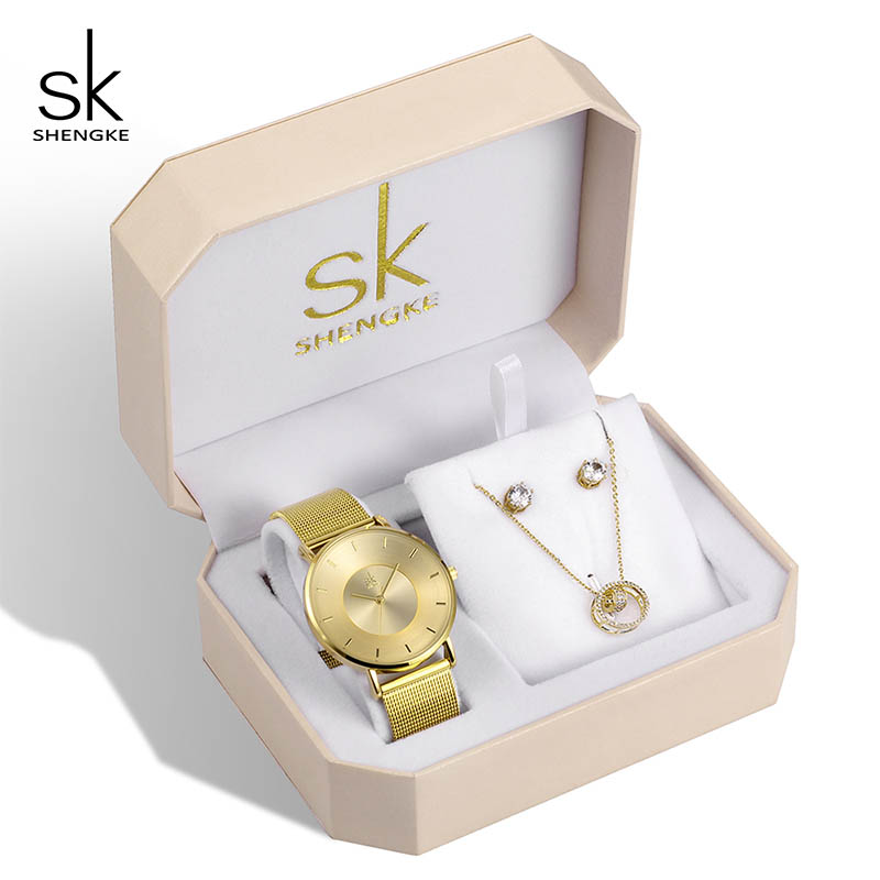 Shengke Luxury Creative Women Gold Set Crystal Earrings Necklce With Ladies Quartz Watch 2019 Women Bracelet Watches Set GiftsShengke Luxury Creative Women Gold Set Crystal Earrings Necklce With Ladies Quartz Watch 2019 Women Bracelet Watches Set Gifts