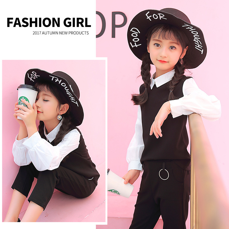 Anlencool 2018 new fashion children's suit girls' autumn clothing children's shirt collared with two pieces of children clothing new fashion suspender with sleeveless shirt suit for girl