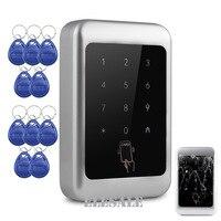 Güvenlik ve Koruma'ten Erişim Kontrol Tuş Takımları'de Yeni Anahtarsız ID Erişim Kontrolü Tuş Takımı Kapı Giriş RFID Keyfobs Şifre Kilidini Metal Kasa Dokunmatik Anahtar + 10 RFID Keyfobs etiketleri