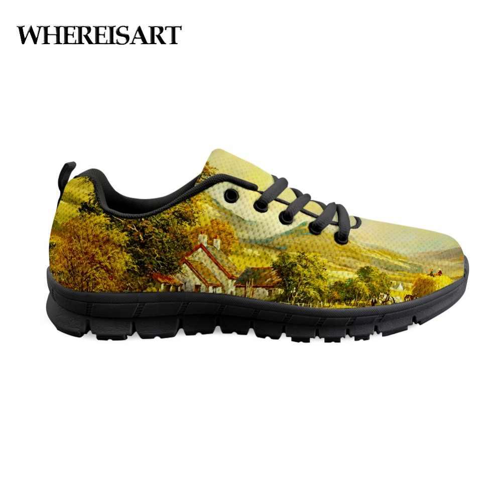 dcbd1528a2b0 WHEREISART Men's Painting Sneakers Flats Casual Comfortable ...