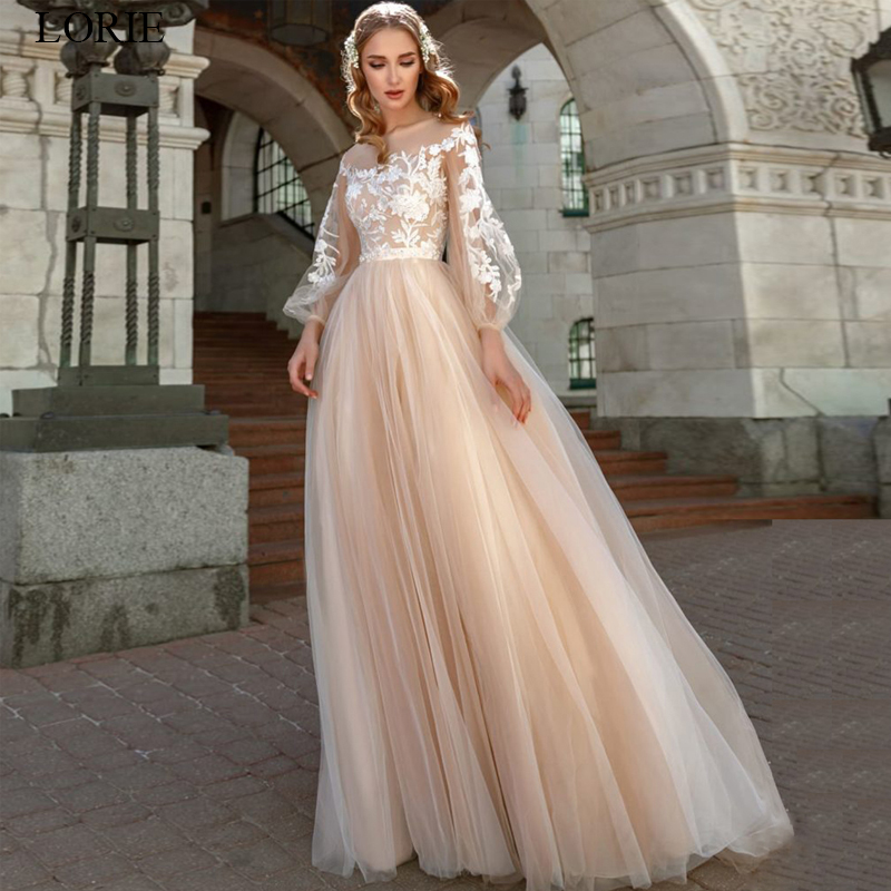 LORIE Lace Appliques A-Line Wedding Dress Lantern Sleeves Tulle Boho Wedding Gowns Vestido De Novia Princess Wedding Party Dress