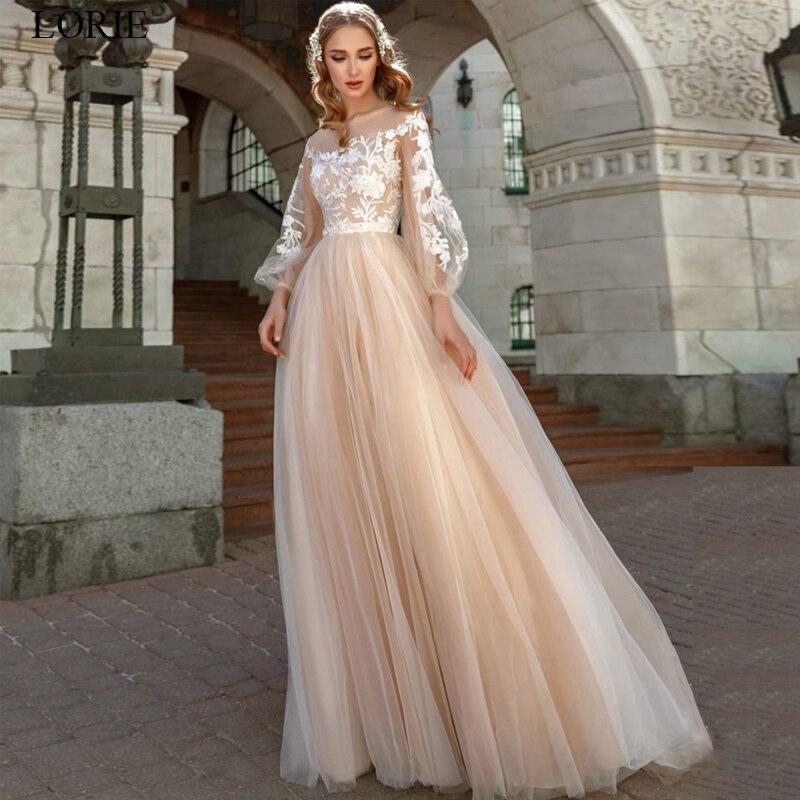 LORIE Lace Appliques A-Line Wedding Dress Lantern Sleeves Tulle Boho Wedding Gowns Vestido De Novia Princess Wedding Party Dress