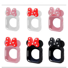 Cute polka-dot bow Minnie Protective Shell For Apple Watch 4 Generations of high Quality Soft Silicone Iwatch Series 40/44mm