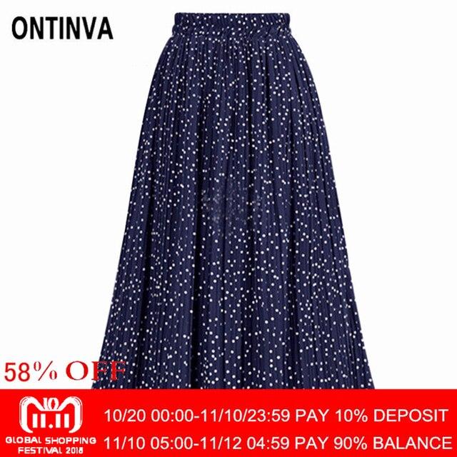 7fd7009bed Elegant Polka Dots Print Pleated Vintage Skirt Boho Jupe Woman Elastic  Waist Skirts 2018 Summer Femininas Mujer Faldas Saias