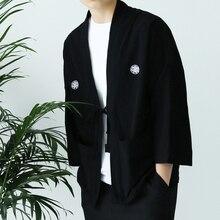 Men Japan Yukata Coat Kimono Outwear Linen Cotton Retro Baggy Top 3/4 Sleeve Loose Black Jacket