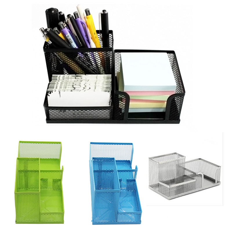 New Metal office Storage Net Box Hollow Pen Pencil Card Office Stationery Holder Desk Pen Organiser Storage Box Container Drawer