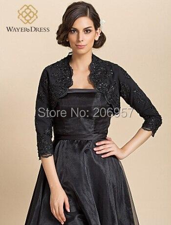 49e2e0eeb43f Formelle Robe Dentelle Noire Appliques Perlée Boléros Accessoires Bolero vestes  Robe de Soirée Bolero Veste custom