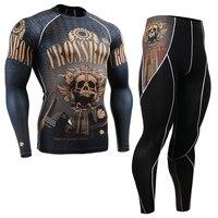 Uomo Palestra Outfit Vestiti Allenamento Insieme Dei Vestiti di Fitness Compressione A Manica Lunga T-Shirt e Pantaloni Da Corsa MMA Training Sports Wear