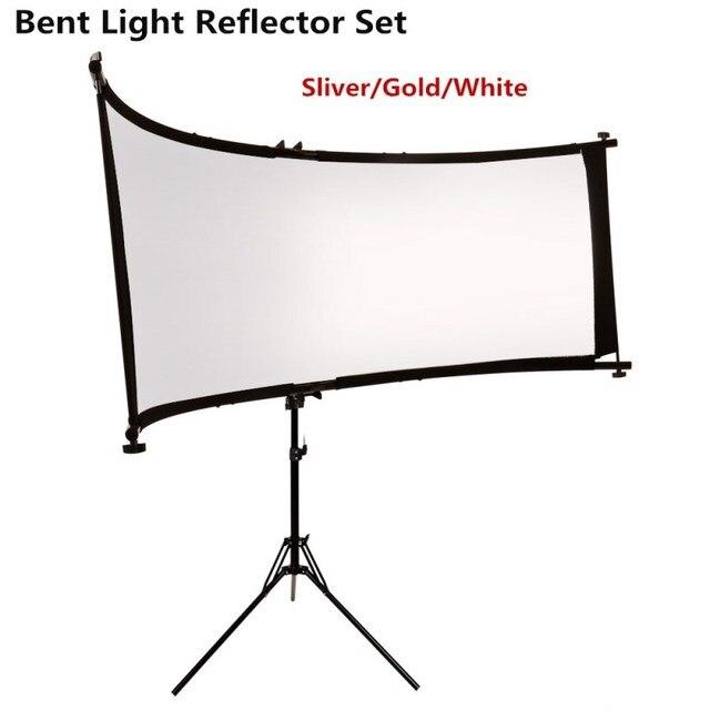 GSKAIWEN כפוף U הקליד אור רפלקטור/מפזר סט עם חצובה Eyelighter עבור צילום וידאו סטודיו Shot (כסף /זהב/לבן)