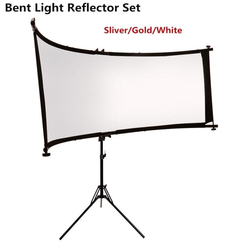 GSKAIWEN réflecteur/diffuseur de lumière courbé en U avec trépied pour photographie vidéo Studio Shot (argent/or/blanc)