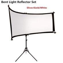 Gskaiwen dobrado u datilografado refletor de luz/difusor conjunto com tripé ocular para fotografia vídeo studio shot (prata/ouro/branco)
