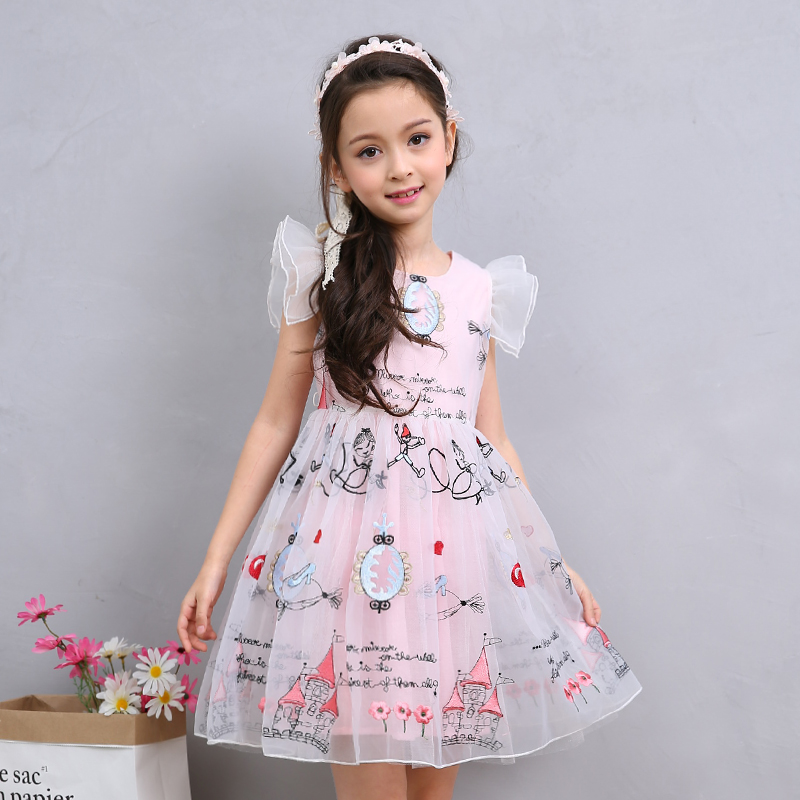 Bongawan Flower Dress for Girl Princess Dress Kids Ruffles Lace Party Wedding Dresses Toddler Girls Summer Clothing 2-6 Years toddler girl princess dress flower kids dresses for baby girls clothes dresses for party and wedding clothing 13 color choose