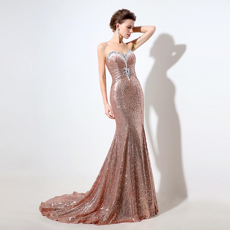 2016 Evening Dress Rose Gold Strapless Mermaid Formal