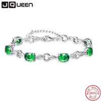 JQUEEN 8.99g 925 Silver Chain Link Bracelets & Bangles Created Emerald Wedding Jewelry Brithday Gifts Top Quality Brand Jewelry