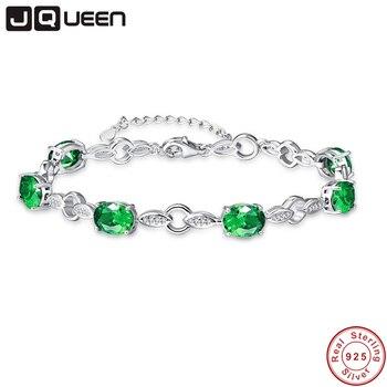 413ad4efa8 8.99g 925 Silver Chain Link Bracelets & Bangles Created Emerald